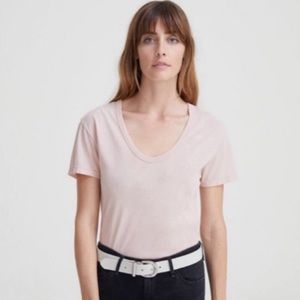 AG Tee Silk Linen Scoop Neck Cropped M